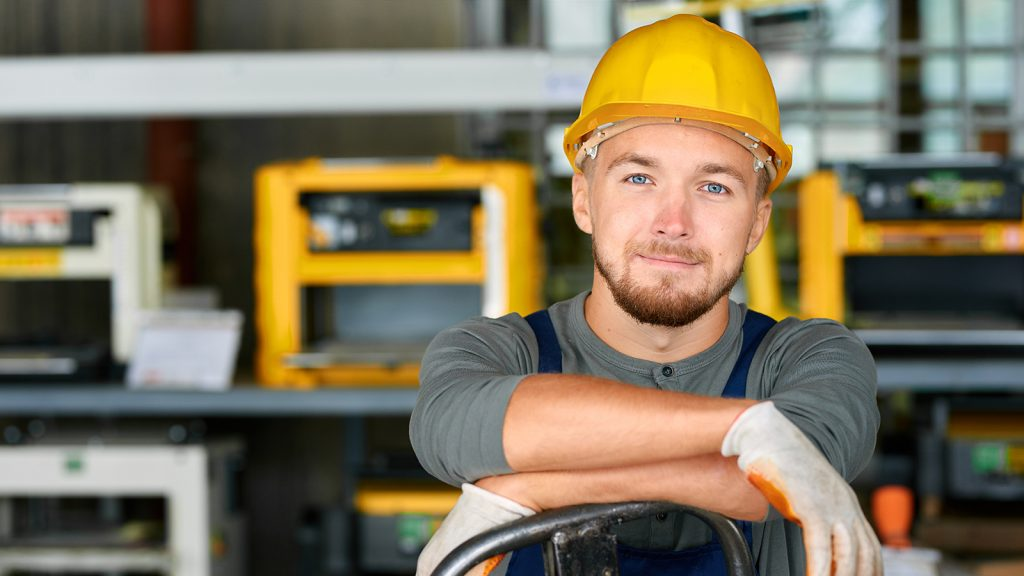 Image of man working with hard hat