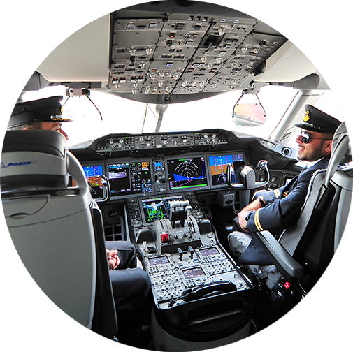 Image of pilots in a cockpit