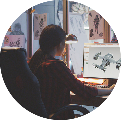 Image of a woman working on a design