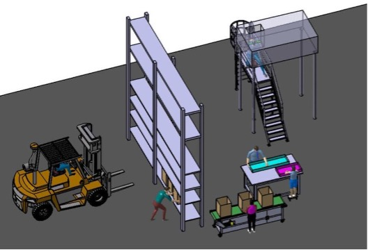 illustration of people working in warehouse
