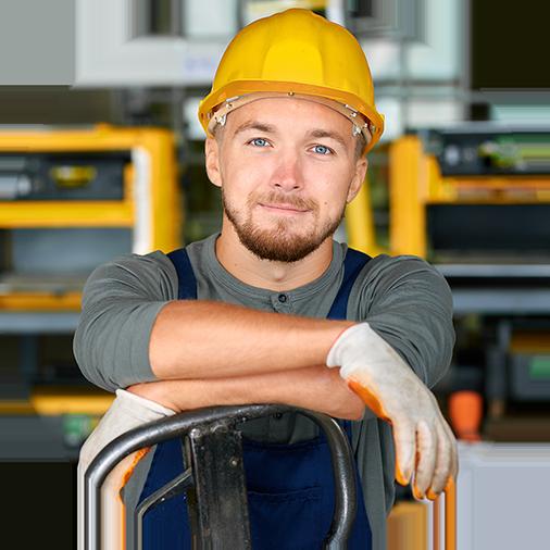 Image d'un homme travaillant avec un casque de chantier